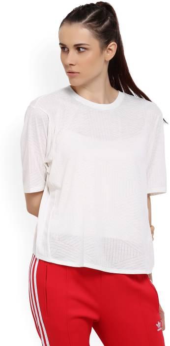 ecf0dc1a3e40 ADIDAS Self Design Women s Round Neck Beige T-Shirt - Grabfly- Best ...