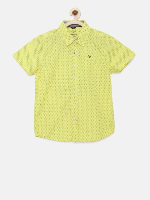 715674967 Allen Solly Junior Boys Yellow & Blue Regular Fit Printed Casual Shirt