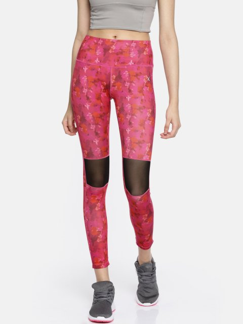 5a4af5416 HRX by Hrithik Roshan Women Pink Printed Tights - Grabfly- Best ...