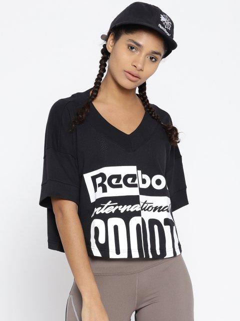 cc45ca86d7f37 40% Reebok Classic Black   White Lost   Found Printed Cropped Boxy T-shirt