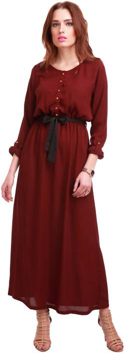 54f3711b8e Sassafras Women's Maxi Maroon Dress - Grabfly- Best Online ...