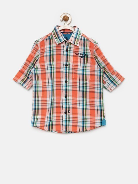2e553bda4e2 U.S. Polo Assn. Kids Boys Orange   White Checked Shirt - Grabfly ...