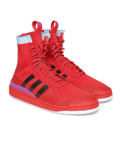 reliable quality arriving 100% genuine Adidas Originals Men Red Solid High-Top FORUM WINTER Prime Knit Sneakers