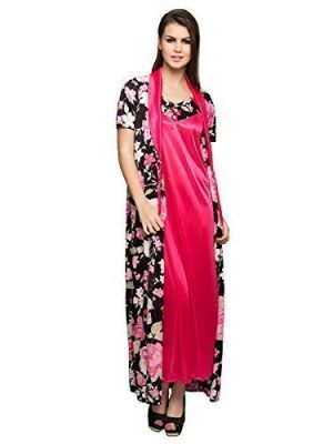 139643d479 Clovia Women's 2 Pcs Printed Satin Nighty & Robe Set (SNM287P13_Black_Free  Size). Best deal ...