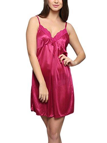 fbacc018437 69% Clovia Womens Satin Nightslip in Hot Pink (NS0299P14 Pink L)