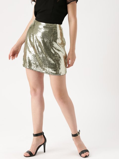 c8df56accb1 DressBerry Gold-Toned Sequinned A-Line Mini-Skirt