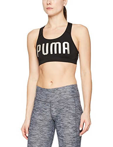5b7e5f8b Puma Women's Soft Cup Sports Bra (51599114_Black-Silver_Large)